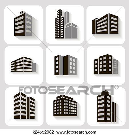 Clip Art - conjunto, de, dimensional, edificios, iconos, en, gris, y ...