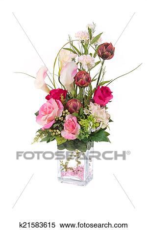 Deko Kunstliches Plastik Blume Mit Glas Vase Rosa Cryst Stock