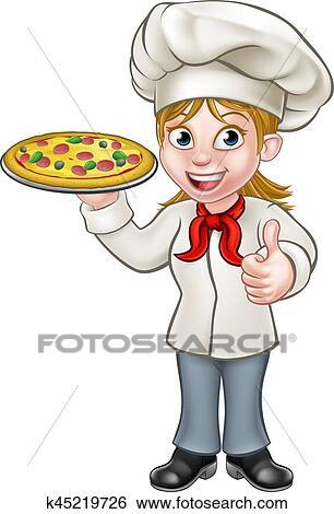 Clipart Femme Pizza Chef Cuistot Dessin Animé Caractère