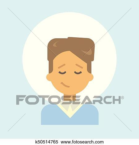 Clipart Male Yeux Fermes Emotion Profil Icone Homme Dessin