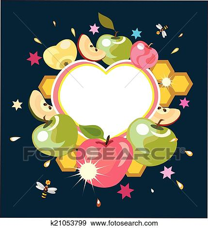 Clip art of shana tovagreeting card k21053799 search clipart abstract apples on the dark backgrounddecorative post card m4hsunfo
