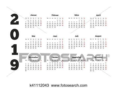Calendario Dibujo 2019.Simple Calendario En 2019 Ano En Idioma Aleman Dibujo