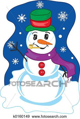 Winter Snowman Stock Illustration K0160149 Fotosearch