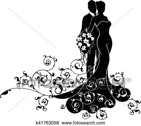Clip Art Of Bride And Groom Wedding Abstract Dress Silhouette