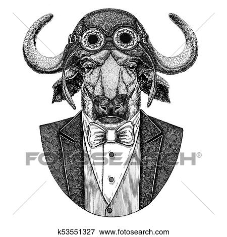abb66cdd5 Wild animal wearing aviator helmet and jacket with bow tie Flying club Hand  drawn illustration for tattoo