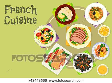 Cuisine Francaise Collations Et Salades Icone Conception Clipart