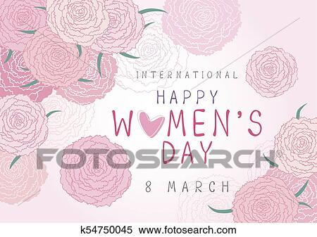 Happy 8 March International Womens Day Design Of Pink Carnation