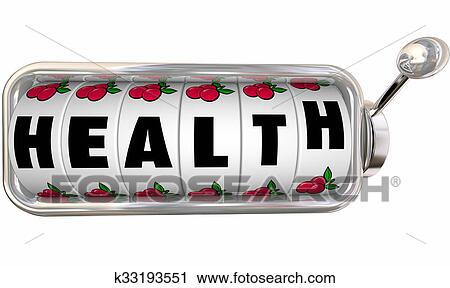 Clipart Of Health Word Slot Machine Wheels Dials Gamble Feel Better