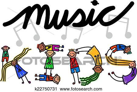 clipart of music kids title text k22750731 search clip art rh fotosearch com Music Free Clip Art Music Note Clip Art