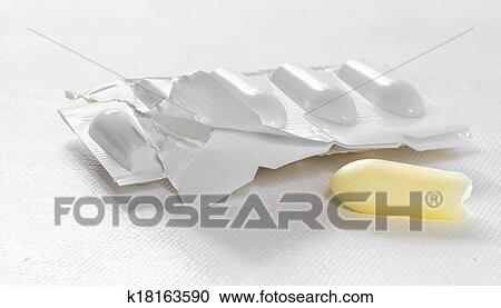 stock photography of package of suppository on white background