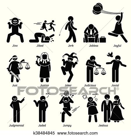 clipart of positive negative character traits k38484845 search