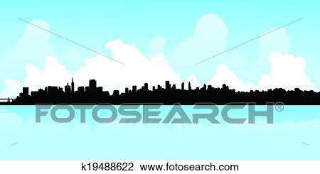 clipart of san francisco skyline k19488622 search clip art