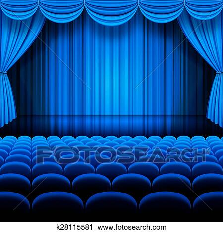 Vector Blue Theater Clipart | k28115581 | Fotosearch