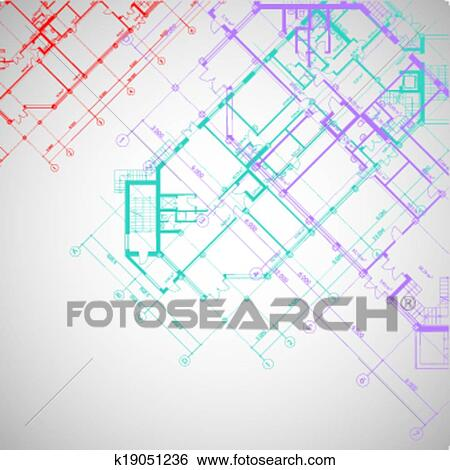 Vector Gray Architectural Background With Plans Clip Art K19051236