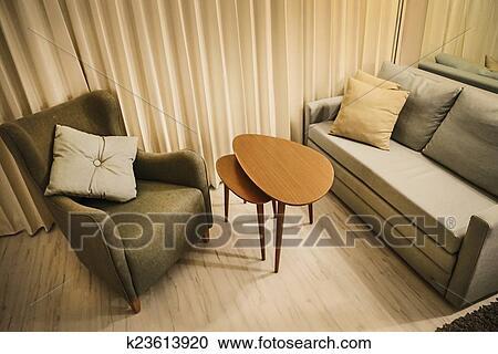 Stock Fotografie - warme, woonkamer, met, bankstel, bewapen stoel ...
