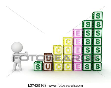 3D Guy & stack of success blocks Drawing