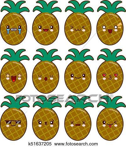 Clipart Ananas Cartone Animato Carattere Set Con Emozioni Su
