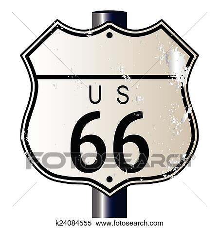 Clipart Of Blank Route 66 Sign K24084555 Search Clip Art