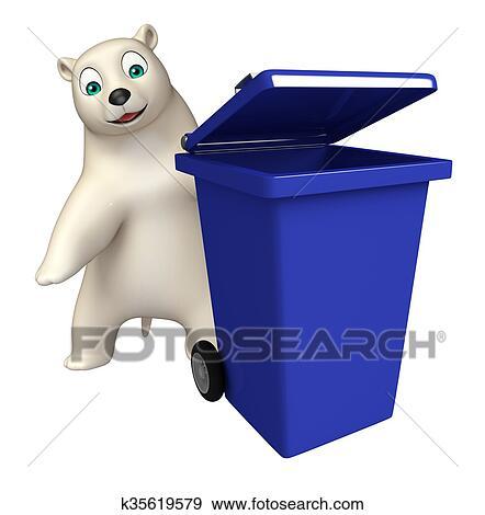 Carino orso polare cartone animato carattere con pattumiera