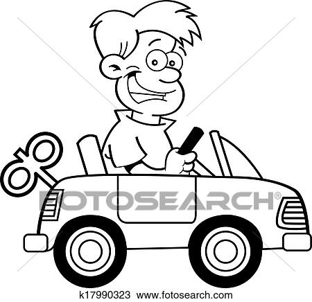Clipart Of Cartoon Boy With A Toy Car K17990323