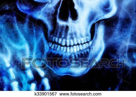 Dettagliato Cranio E Scheletro Mano Blu Fuoco Su Nero Fondo