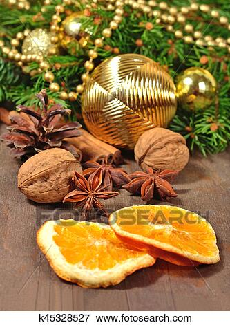 Different Kinds Of Spices Nuts Cone And Dried Oranges Christmas