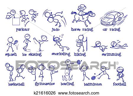 clip art of different types of sports k21616026 search clipart illustration posters drawings. Black Bedroom Furniture Sets. Home Design Ideas