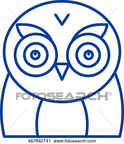 Funny owl line icon concept. Funny owl flat vector symbol ...