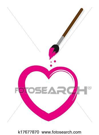 Clipart Herz Pinsel K17677870 Suche Clip Art Illustration