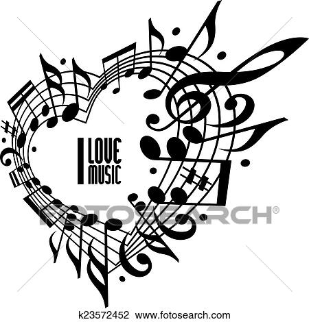 Clipart Of I Love Music Concept Black And White Design K23572452