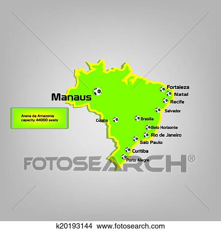 Clipart of manaus stadium map location k20193144 - Search Clip Art ...