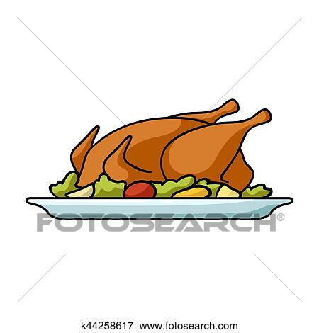 Roasted Chicken With Garnish Icon In Cartoon Style Isolated On White Background Restaurant Symbol Bitmap Rastr Illustration