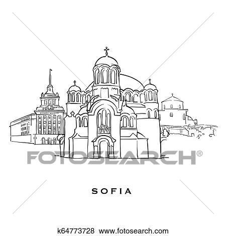Sofia Bulgaria famous architecture Clip Art