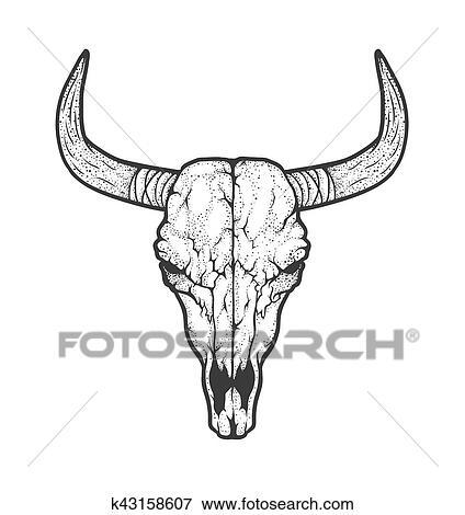 Taureau cr ne indig ne am ricains tribal style - Dessin de toro ...