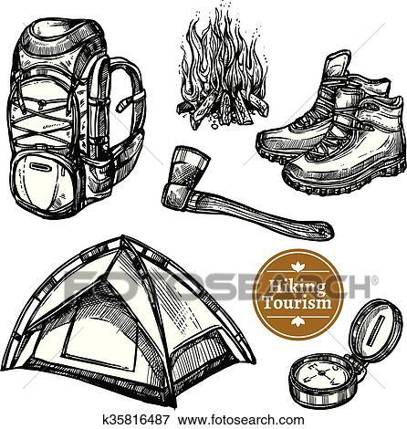 Tourisme Camping Randonnée Croquis Ensemble Clipart