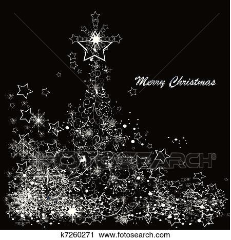 Clipart vektor weihnachtsbaum gemacht von schneeflocken auf a schwarzer hintergrund - Schwarzer weihnachtsbaum ...