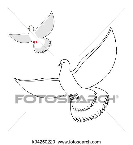 White Dove coloring book. Flying white pigeon. Contour bird waving wings.  Childrens coloring book with bird. Clipart