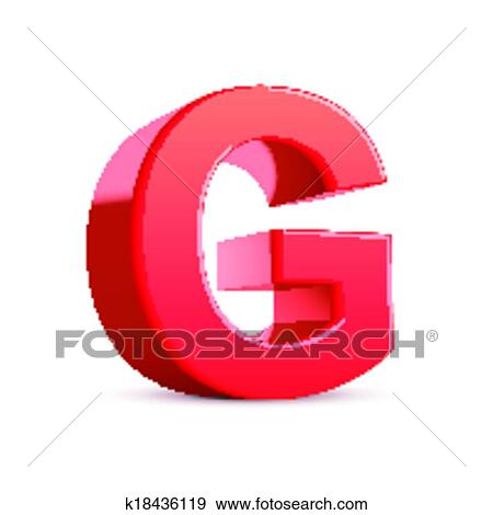 Clip Art Of 3d Red Letter G K18436119 Search Clipart Illustration