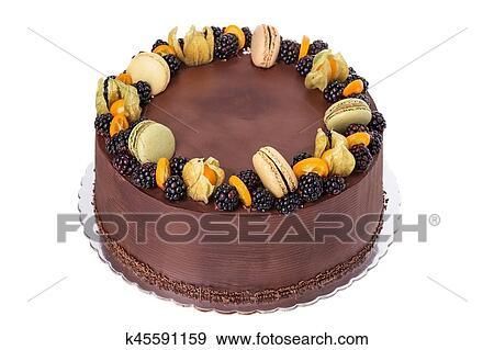 A Festive Chocolate Birthday Cake Of Blackberries