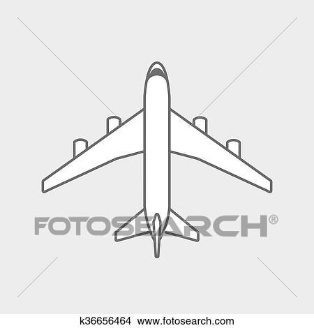 Black Plane Outline Clipart K36656464 Fotosearch