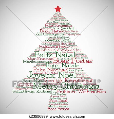 Merry Christmas Different Languages.Christmas Tree Made From Merry Christmas In Different Languages In Vector Format Clip Art