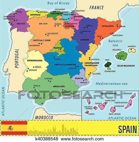 Map Of Spain Showing Airports.Detailed Vector Map Of Spain Clip Art