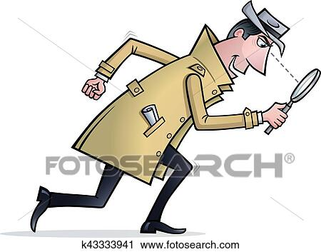 clipart of detective looking for clues k43333941 search clip art rh fotosearch com Waiting Clip Art Detective Silhouette Clip Art