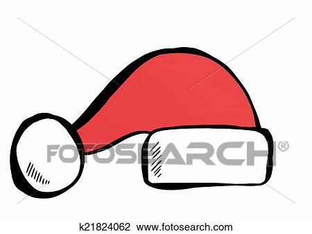 clip art of doodle santa claus red hat isolated k21824062 search rh fotosearch com doodle clipart free doodle clipart png