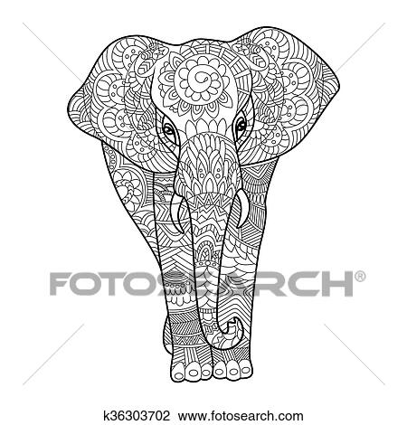 Clipart Of Elephant Coloring Book For Adults Vector K36303702