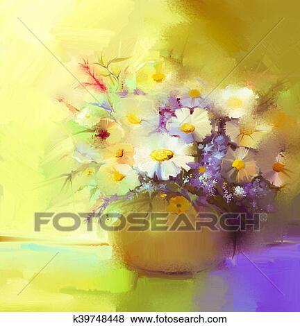 Archivio Illustrazioni - estratto, dipinto olio, di, fiore ...