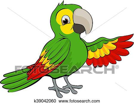 Green Cartoon Parrot Clipart K39042060 Fotosearch