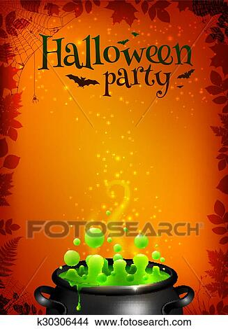 clipart of orange halloween poster template with green potion in