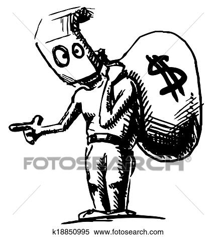 Clipart Robber In A Mask And With Money Bag Fotosearch Search Clip Art