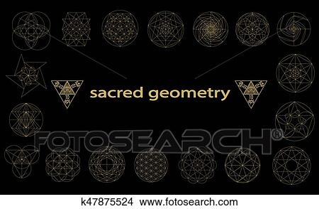 clipart of sacred geometry symbols and signes vector illustration